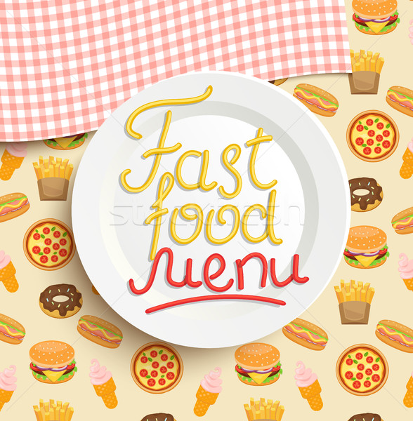 Plate with an inscription of Fast food menu. Stock photo © tandaV