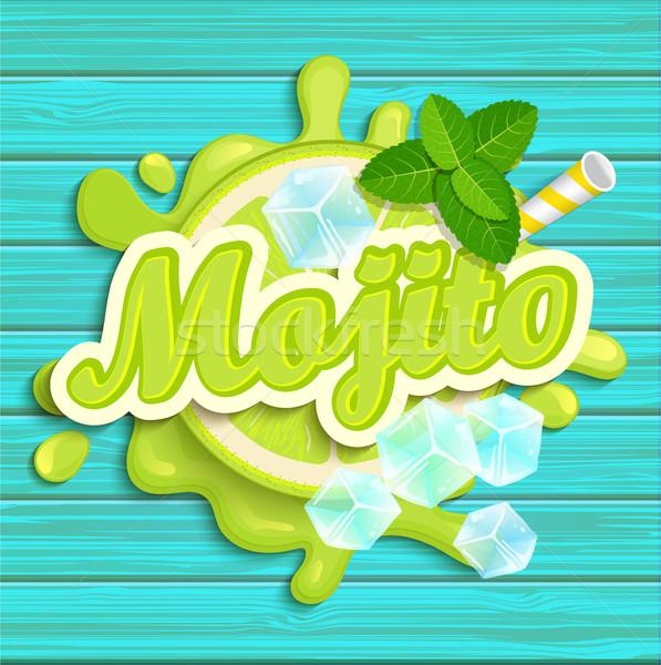 Mojito label splash lint Blauw Stockfoto © tandaV