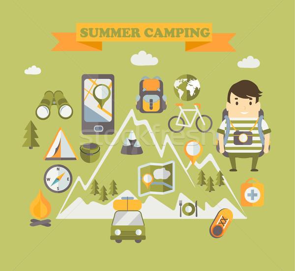 Férias férias de verão viajar cartaz feliz Foto stock © tandaV