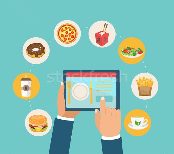 доставки порядка продовольствие приложение дизайна красочный Сток-фото © tandaV