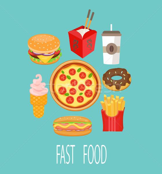 Сток-фото: быстрого · питания · вектора · признаков · пиццы · стекла