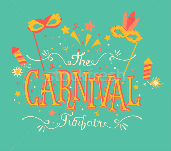 Carnival funfair and fireworks. Stock photo © tandaV