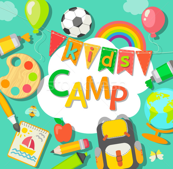 Yaz kampı poster okul çocuk öğrenci arka plan Stok fotoğraf © tandaV