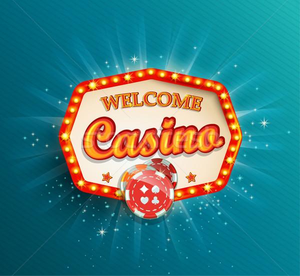 Splendente retro luce frame casino illuminazione Foto d'archivio © tandaV