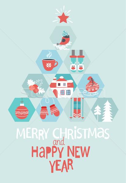 クリスマス グリーティングカード 陽気な 明けましておめでとうございます 抽象的な ストックフォト © tandaV