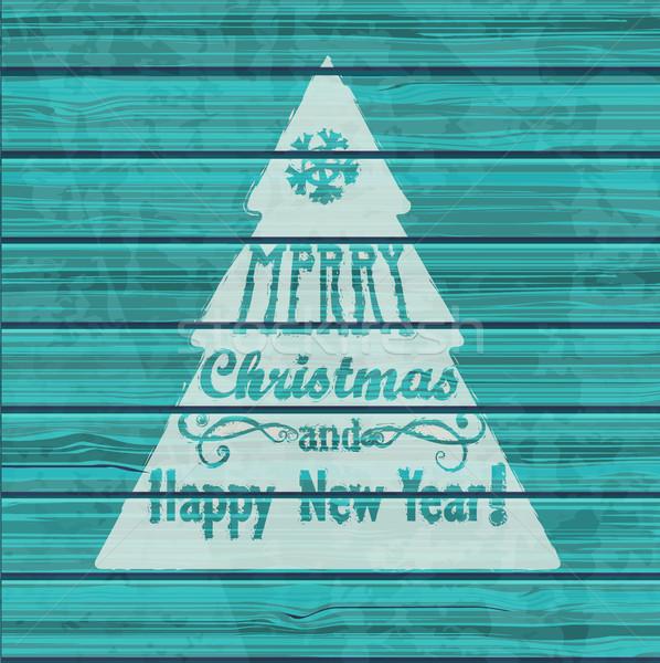 Biglietto d'auguri Natale capodanno legno texture Foto d'archivio © tandaV