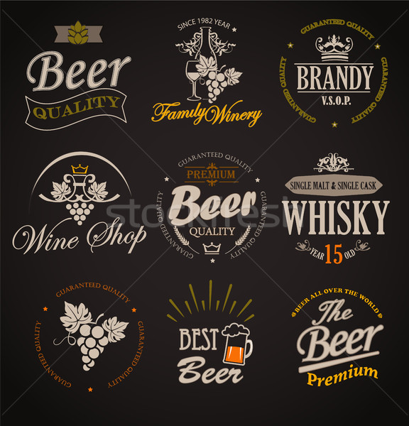 Set of badges and labels elements for alcohol. Stock photo © tandaV
