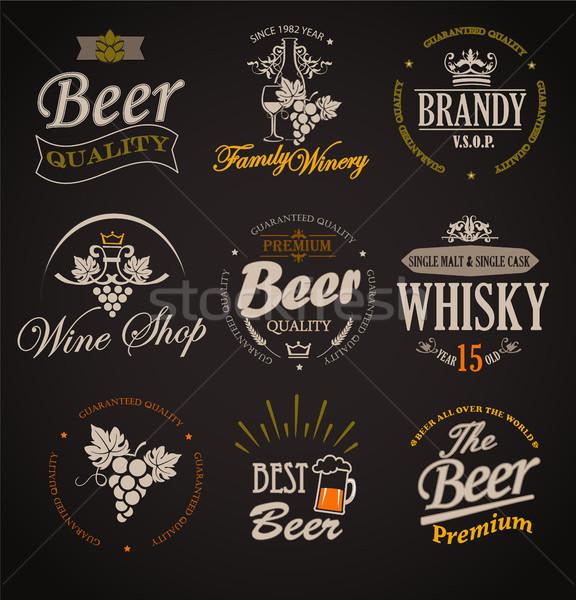 набор жетоны Этикетки Элементы алкоголя напитки Сток-фото © tandaV