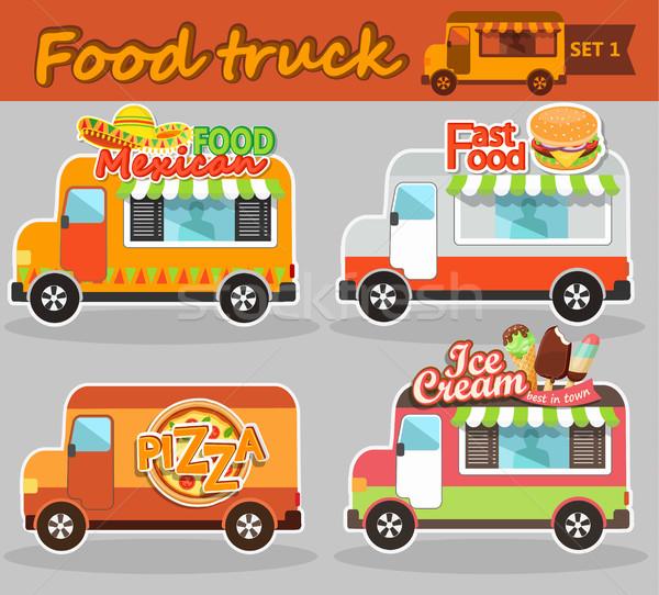 Stock photo: Food truck vector illustrations.