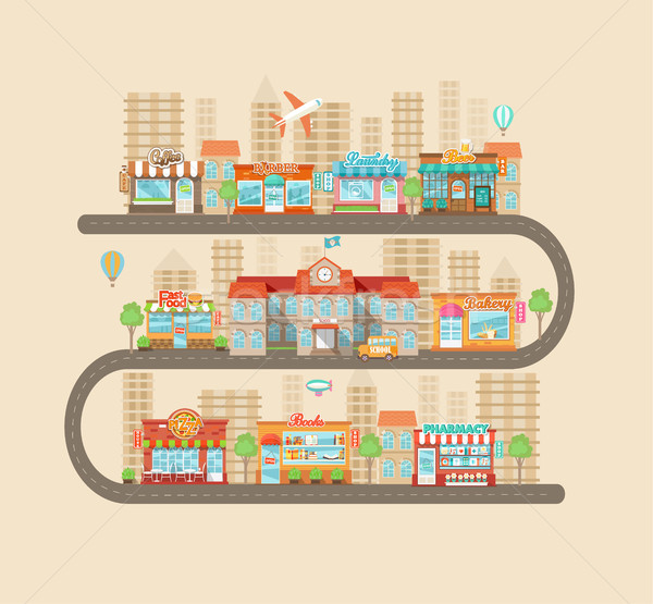 Foto stock: Urbano · paisagem · cidade · vida · projeto · moderno