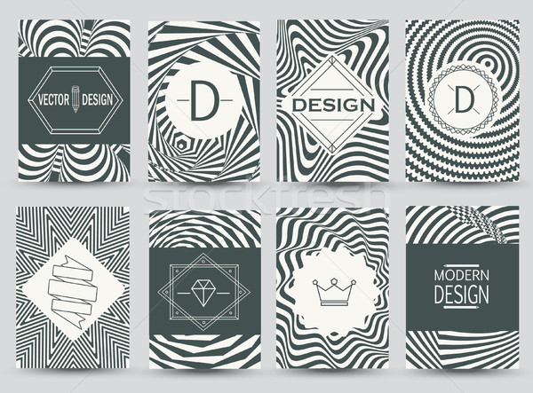 Set of monochrome flyer pages. Stock photo © tandaV