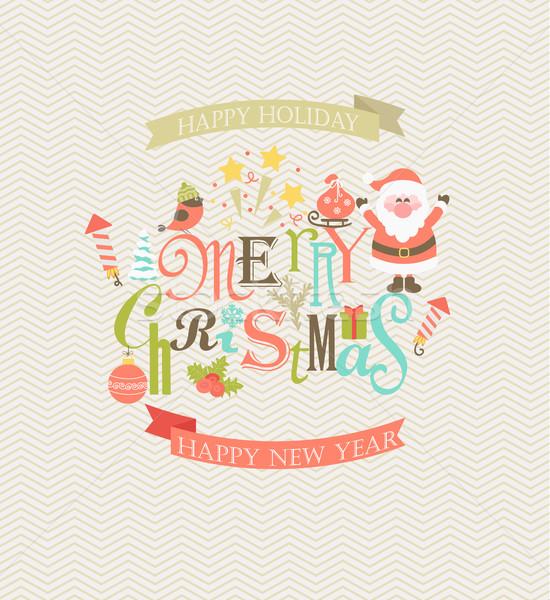 Natal mensagens conjunto projeto elementos elegante Foto stock © tandaV