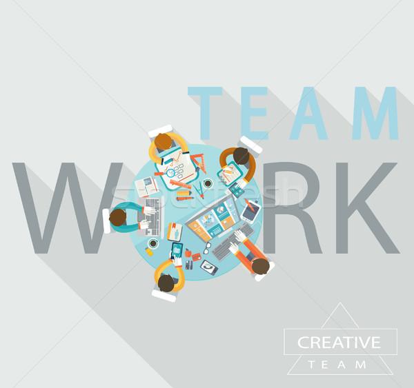 Teamwork concept, vector. Stock photo © tandaV