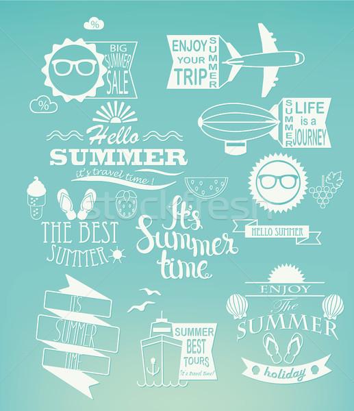 Summer holidays design elements on blue background. Stock photo © tandaV