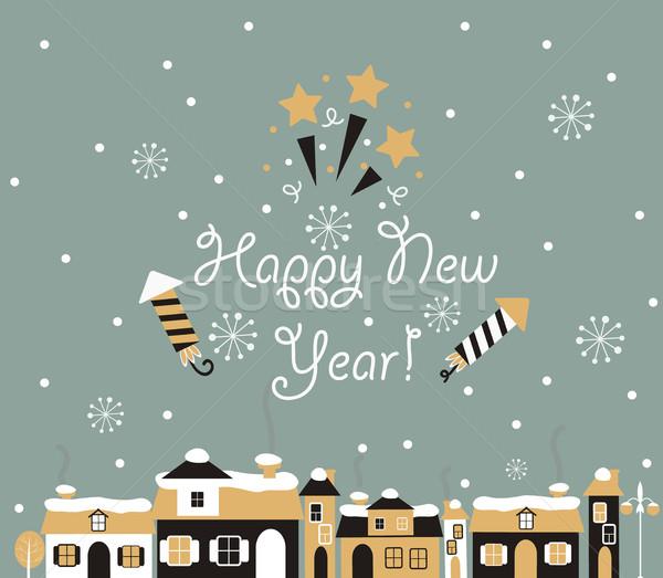 明けましておめでとうございます グリーティングカード 冬 町 ホーム 雪 ストックフォト © tandaV