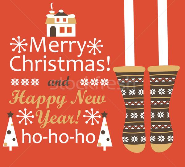 陽気な クリスマス 明けましておめでとうございます グリーティングカード ストッキング 家 ストックフォト © tandaV