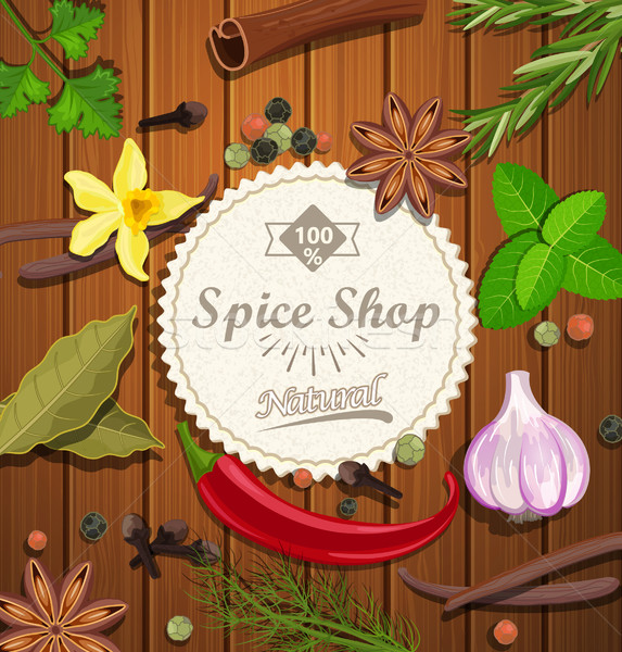 Spice магазин бумаги эмблема различный специи Сток-фото © tandaV