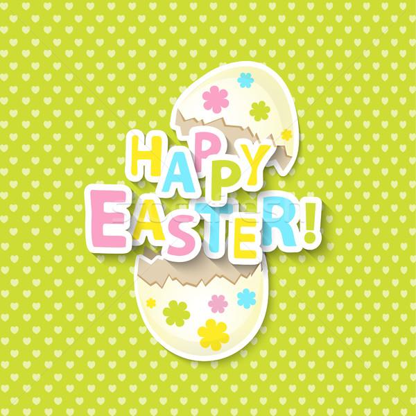 Cartão desenho animado ovos colorido feliz Foto stock © tandaV