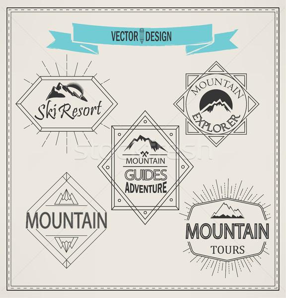 Foto stock: Vector · montana · logos · estilo · establecer