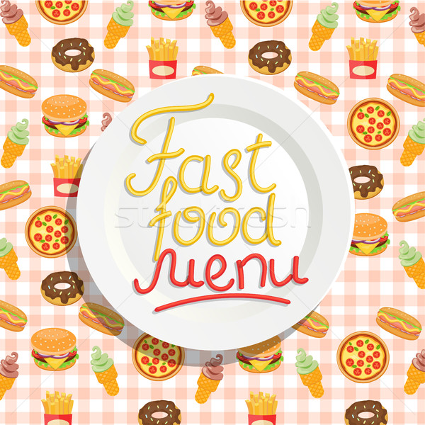 Fast Food menu with plate. Stock photo © tandaV