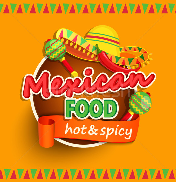 Mexicaans eten label traditioneel gekruid voedsel kunst Stockfoto © tandaV
