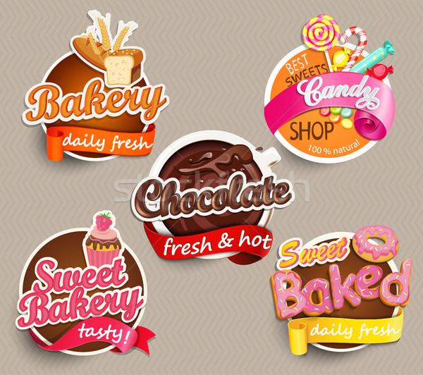 продовольствие Label наклейку дизайн шаблона хлебобулочные шоколадом Сток-фото © tandaV
