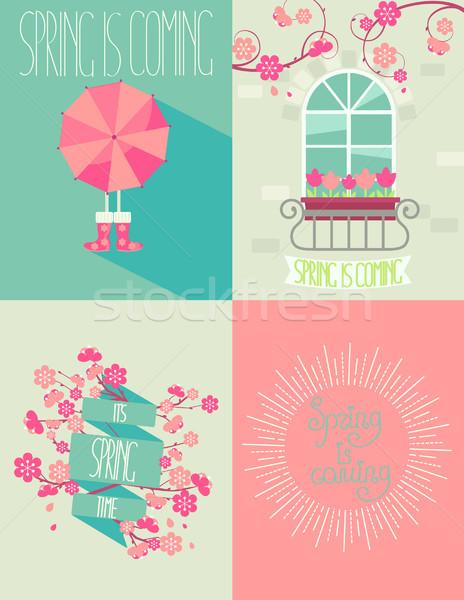 セット 春 春 シーズン 自然 庭園 ストックフォト © tandaV