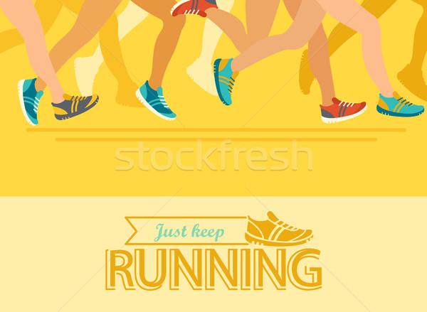 夏 を実行して マラソン 抽象的な カラフル ポスター ストックフォト © tandaV
