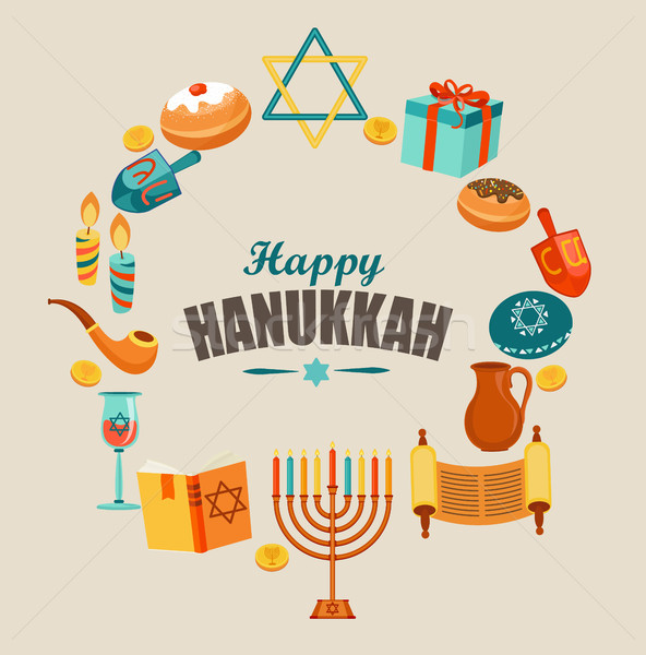 Happy Hanukkah greeting card. Stock photo © tandaV