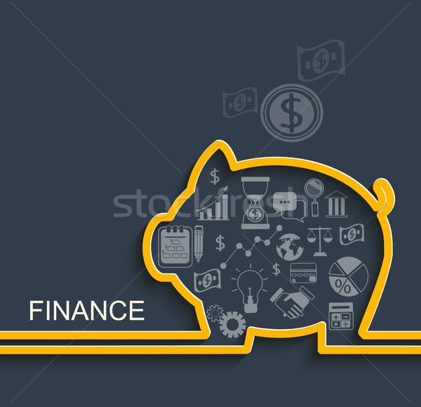 Financiar negócio eps10 papel preto porco Foto stock © tandaV