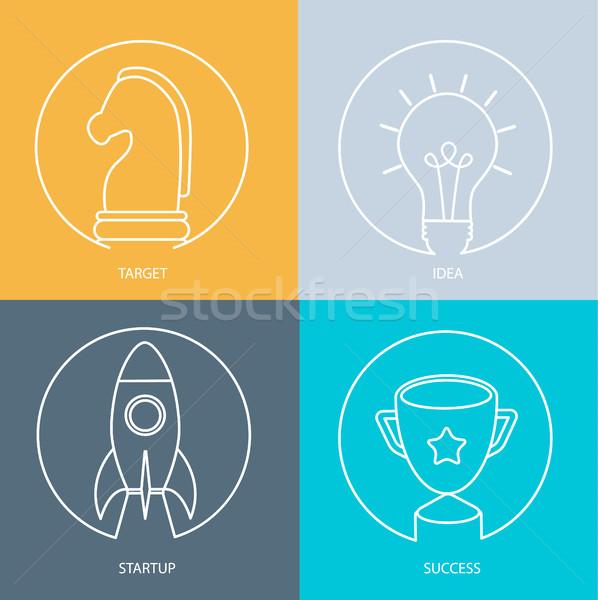 ícone web conjunto startup idéia alvo Foto stock © tandaV