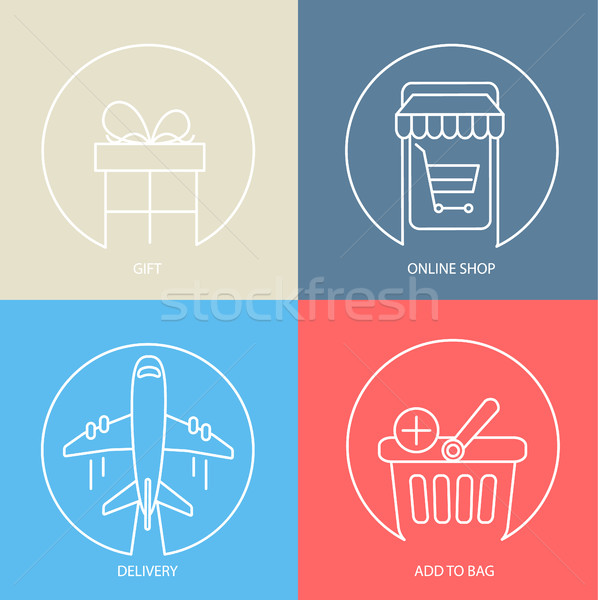 Outline e-commerce web icon set. Stock photo © tandaV