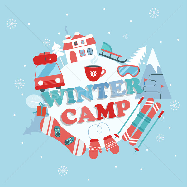 Stock photo: Christmas Holiday and Travel themed Camp poster.