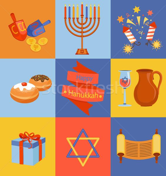 Jewish Holiday Hanukkah icons set. Stock photo © tandaV