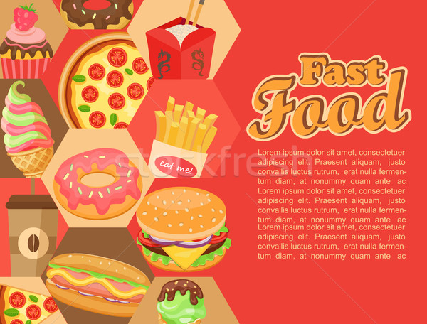 Stockfoto: Fast · food · vector · sjabloon · hamburger · koffie