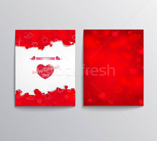 Flyer san valentino volantini carta felice cuore Foto d'archivio © tandaV