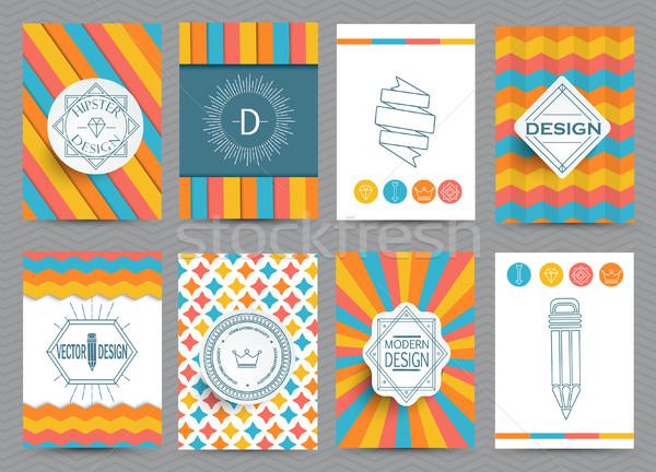 Conjunto retro quadros brochuras vintage estilo Foto stock © tandaV