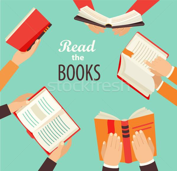 Mãos livros vetor conjunto mão Foto stock © tandaV