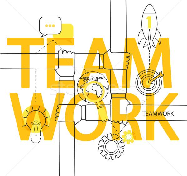 команде современных тонкий линия веб Сток-фото © tandaV