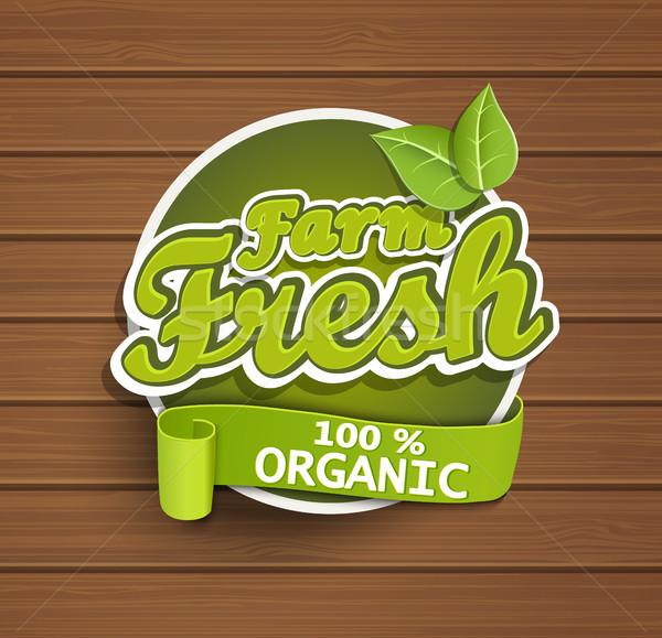 Fazenda fresco etiqueta alimentos orgânicos distintivo selar Foto stock © tandaV
