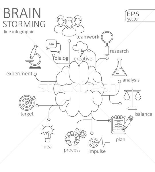 простой линейный мозг вектора логотип Сток-фото © tandaV