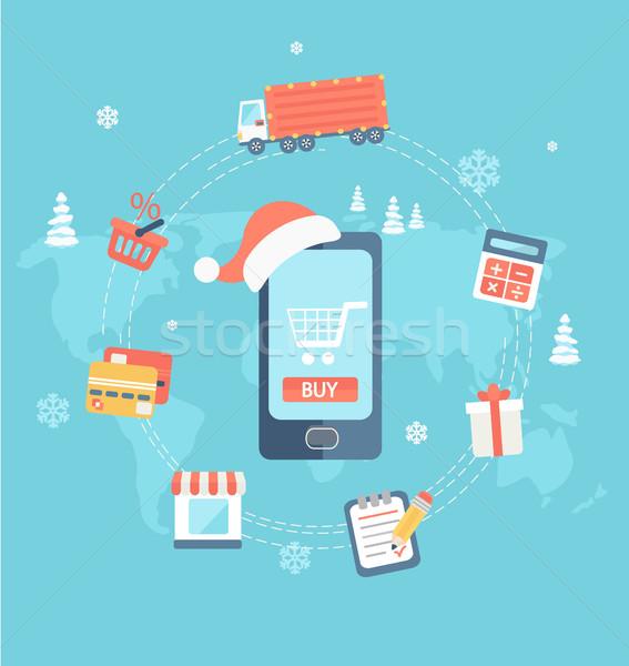 Рождества скидка продажи дизайна иконки веб Сток-фото © tandaV