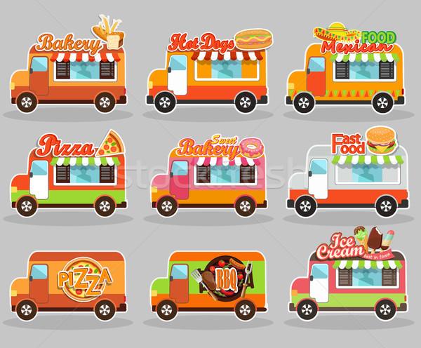 ストックフォト: セット · ベクトル · イラスト · 食品 · トラック · アイスクリーム