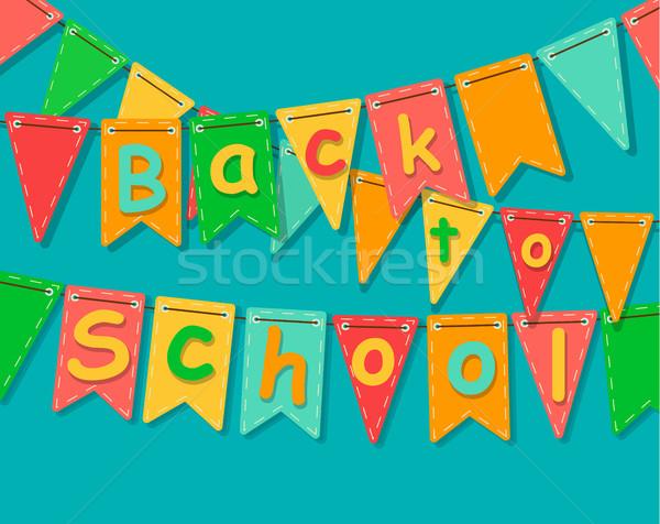 Снова в школу баннер вечеринка красочный флагами текста Сток-фото © tandaV