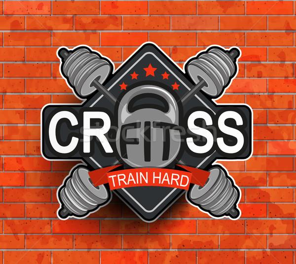 Crossfit emblème symbole étiquette logo fitness Photo stock © tandaV