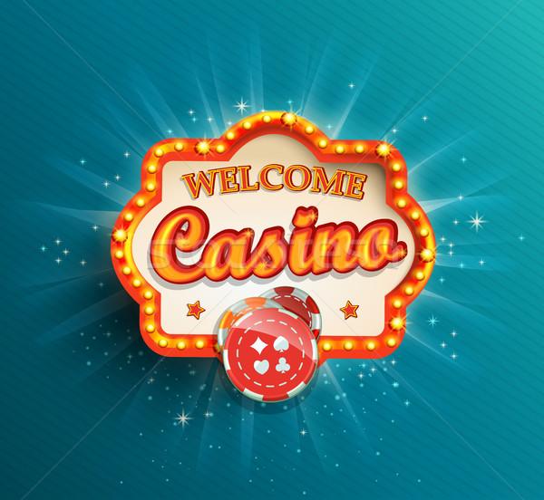 Casino splendente retro luce frame illuminazione Foto d'archivio © tandaV