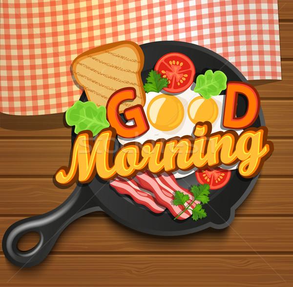 Сток-фото: английский · завтрак · вектора · помидоров · бекон