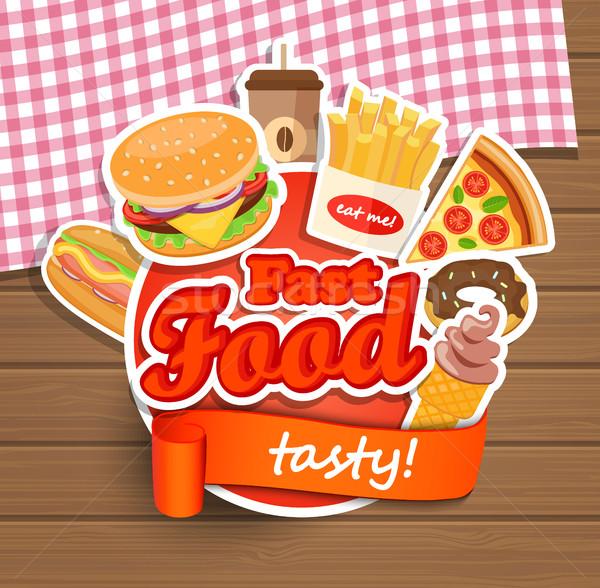 Fast food design template. Stock photo © tandaV