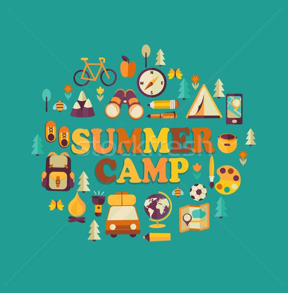 Yaz kampı yaz tatili seyahat poster çocuklar okul Stok fotoğraf © tandaV