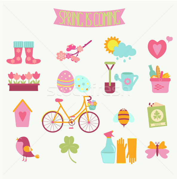 set of 16 flat colorful spring icons Stock photo © tandaV